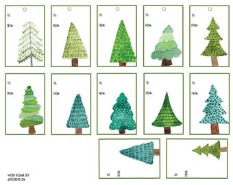 Watercolor Evergreen Tree Gift Tags