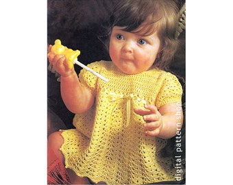Baby Girls Crochet Dress Pattern Ribbon Trim Lacy Shell Stitch Dress Crochet Pattern PDF Instant Download C121