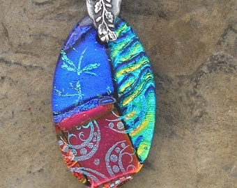 Red and Blue Necklace Dichroic Glass Pendant Rainbow Dichroic Jewelry