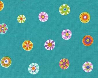 Folk Floral Dot (Mermaid) - Melodies - Sarah Campbell - Michael Miller Fabrics - 1 Yard