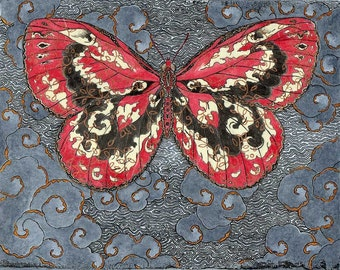 Fine Art Greeting Card, Papillon D'Esprit in Red, Spirit Butterfly, Hand Made Archival Reproduction of an original watercolor etching.