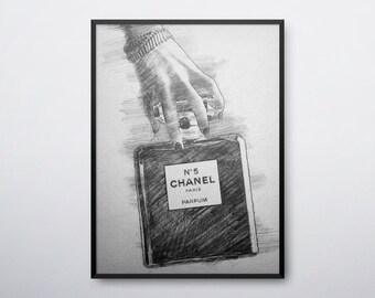 Coco Chanel Print, Chanel No 5, Chanel 5, Chanel Perfume, Chanel Wall Art, Chanel Decor, Fashion Wall Art, Fashion Gift, INSTANT DOWNLOAD
