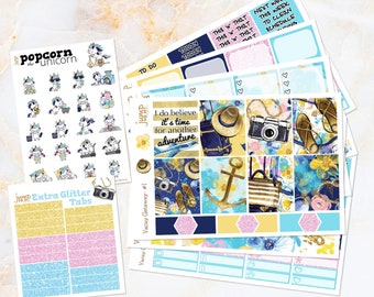Vacay Getaway travel floral spring summer weekly set / kit stickers - for Erin Condren VERTICAL Planner - watercolor Popcorn the