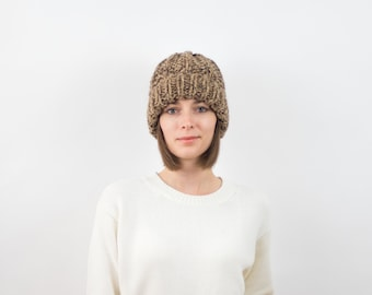 Chunky Knit Hat, Fold-Over Brim Beanie, Wool Blend | THE PORTLAND in Toffee