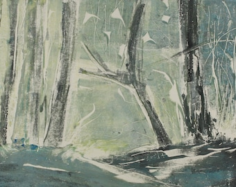 """Original image, Monotype """"Woodland 38"""", sheet size 30 x 40 cm, motif size 20 x 30 cm, trees, forest, abstract landscape, night"""