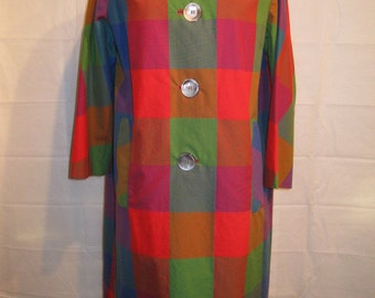 Vintage 1960s Main Street Multicolored Checked Raincoat & Hat Free Shipping