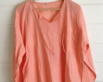 Cotton Tunic / Beach Cover-up in Apricot/Peach - Size: L