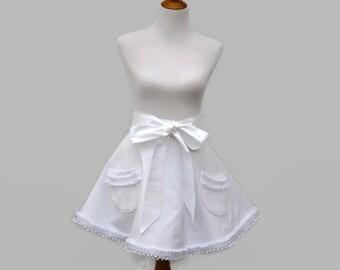 Womens White Half Retro Apron, White Ruffled Half or Full Apron, White Retro Half Bride Apron, Ruffled Bride Apron, Ruffled Wedding Apron