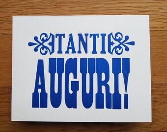 Tanti Auguri Italian letterpress card: Birthday / Congratulations / Baby / Wedding / Best Wishes