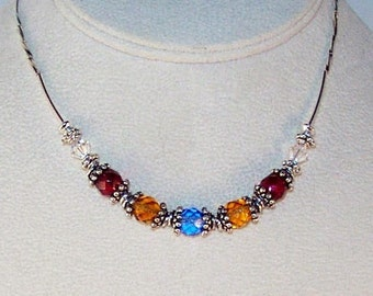 Birthstone Swarovski Crystal Grandmother's Necklace - Pattern - 5-7 Birthstones