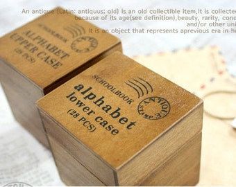 2 Cases Vintage Alphabet Stamp Set -  Wooden Rubber Stamp Set - Lowercase and Uppercase - WR01512