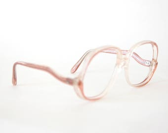 80s Pink Safety Glasses Frames - Pink Eyeglasses - 1980s Glasses - Oversized Eyeglasses - Extra Large Glasses - Large 80s Frames - Rem