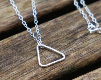 Geometric Necklace, Sterling Silver Triangle Necklace, Sterling Silver Minimalist Necklace, Delicate Silver Necklace, Everyday Necklace
