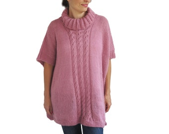 Plus Size Over Size Pink Mohair Poncho - Pelerine