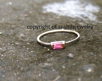14k Solid Yellow Gold Stackable Genuine Ruby Baguette Ring Minimalist Stacking Gemstone Ring Handmade Fine Jewelry