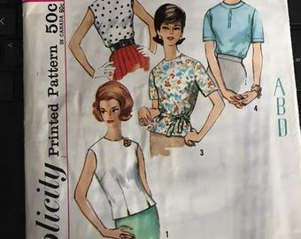 Vintage 50s Simplicity 4935 Shirt Pattern-Size 16 (36 Bust)