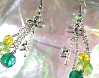 KEY former earrings dangling with balls yellow, chartreuse and green tropical.