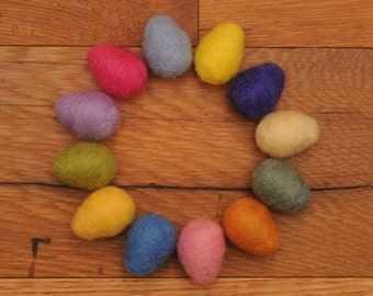 Felted Eggs, Set of 12 Wool Felted Easter Eggs in Spring Colors, Nest & Custom colors available