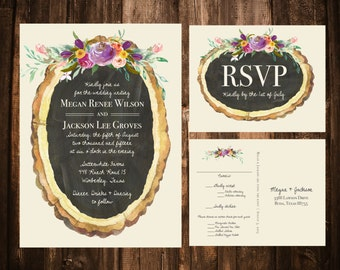 Wood Slice & Spring Florals Wedding Invitations; Printable OR set of 25