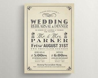 Printable Wedding Rehearsal and Dinner Invitation \ Vintage Poster Design (RD36)