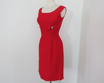 1950s Red Wiggle Dress with Rhinestone Detail