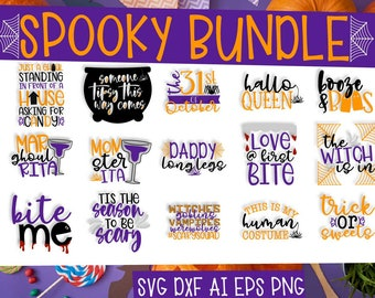 Halloween, Bundle, SVG, Cutting, Shirt, Drinking, Adult, Puns, Clipart, DXF, Ai, Eps, PNG, Cricut, Silhouette, Vampire, Witch, Bat, Spider
