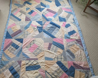 Patchwork Quilt Blue Tan Pink Crazy Quilt Feather Stitched Pcs. Rustic Country Vintage Quilt Size 58 x 75 inches w/ Filler Old Fabric Quilt