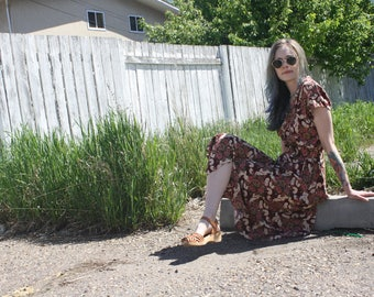 90s Floral Grunge Maxi Mom Dress