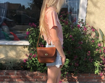 Vintage Rare Coach British Tan Leather Quincy Bag 9919,Coach Brown Leather Bag,Cross body Shoulder Bag,Made in USA Coach,Small Leather Purse