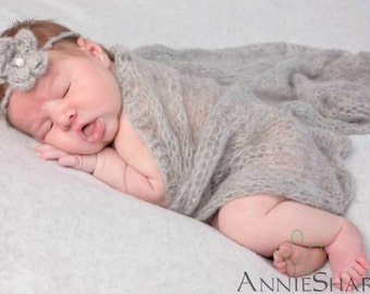 SET Light Gray Mohair Knit Baby Wrap and Headband Newborn Photography