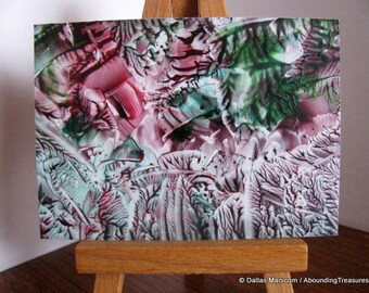 ACEO Abstract Encaustic (Wax) Original Miniature Painting. Rose Red, Forest Green. SFA (Small Format Art)