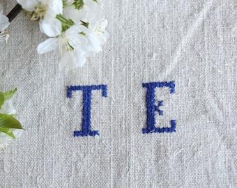 F 419:  antique , monogramm BLUEBERRY BLUE ; 리넨; linen; grain sack; upholstery; wedding , vintage, linne, lin,  51.18 long