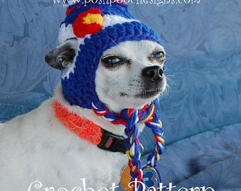 Instant Download Crochet pattern - Colorado Dog Beanie - Small Dog Beanie