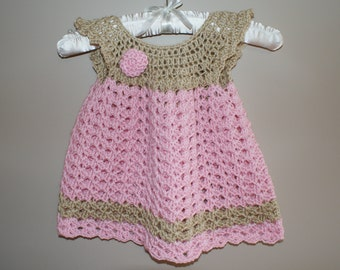 Baby Dress Pinafore, Crochet Newborn Dress, Infant Baby Girl Clothing, Girl Baby Clothes, Girl Pinafore, Baby Dress, Pink Baby Dress
