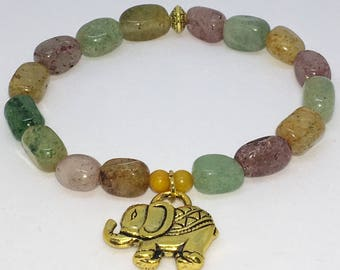 """Elephant Charm Bracelet 7"""" Accented by Multi-Colored Polished Stone Beads"""