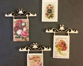 Miniature Dollhouse Wrought Iron Style Hanging sign with Vintage Floral front 1:12 Scale