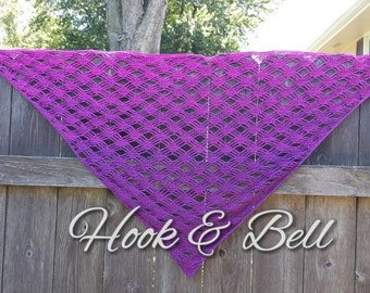 Purple and Pink Misty Morning Triangle Shawl