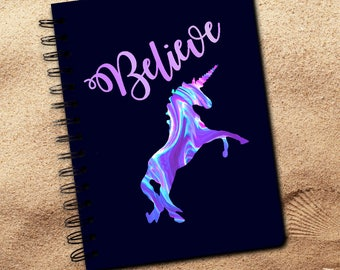 Unicorn Journal Gift/Pastel Believe Unicorn Lover Notebook/Rainbow Believe In Unicorns Spiral Journal Diary Gift/Be A Unicorn Notebook