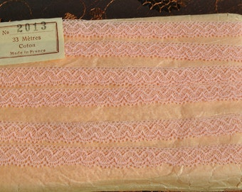 vintage 1950s pale pink valenciennes cotton lace trim made in France 3 meters
