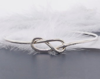 Love knot bangle • infinity bracelet • sterling silver knot bangle • bridesmaid proposal and sorority gift