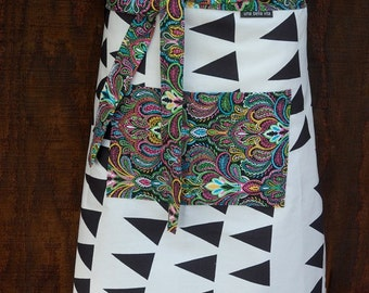 Woman's half apron, Flags, Banner, Paisley, black and white