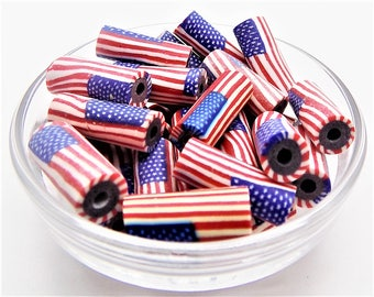 American flag beads; hand crafted polymer clay, American flag tube beads, 18x7mm, 5-10pcs/3.80-7.60.