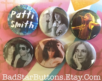 Patti Smith Button Set, Patti Smith, Lou Reed, Easter, Music, Horses, Punk, Music, Doves, Vintage Style, Seventies, 70s, Badges, Pins