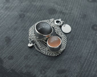 Double Rolling ball like Grey and Peach Moonstone silver necklace
