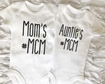 Auntie MCM bodysuit. Moms MCM shirt. Baby Loves Auntie. Baby Shower Gift. Man Crush Monday. Baby Gift