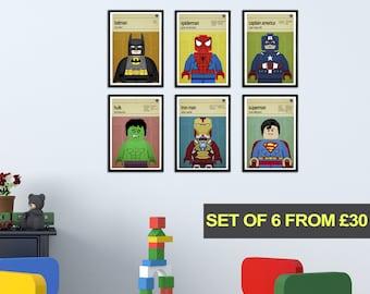 Superhero Wall Art, Set of 6 prints, Boys Room Decor, Superhero Wall Art, Childrens Bedroom Wall Art, Nursery Pictures, Boys Bedroom Prints