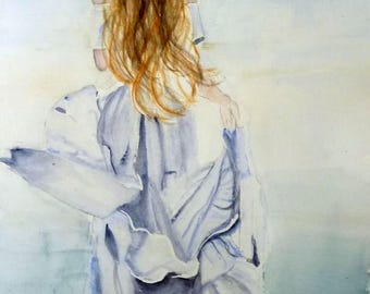 a beautiful woman, watercolor