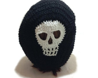 Skull Tam Slouchy Skull Hat Skeleton Beanie Crochet Slouchy Hat Skull Snood in Black and White