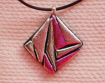 Pink & silver dichroic glass pendant, bail in sterling silver