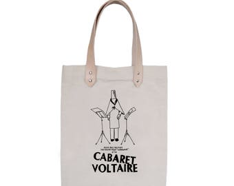 Tote Bag With leather straps - Screenprint Over Cotton Canvas Tote Bag Cabaret Voltaire